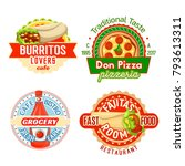 fast food meals and snacks... | Shutterstock .eps vector #793613311