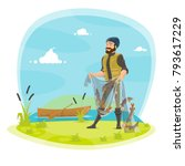 fisherman on fishing with fish... | Shutterstock .eps vector #793617229