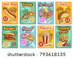 fast food posters sketch design ... | Shutterstock .eps vector #793618135