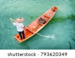 top view of asian boatman in... | Shutterstock . vector #793620349