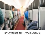 defocused view at passengers... | Shutterstock . vector #793620571