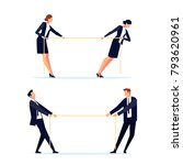 businessmen are pulling rope.... | Shutterstock .eps vector #793620961