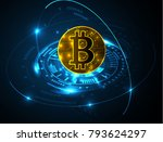 bitcoin abstract geometric... | Shutterstock .eps vector #793624297