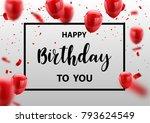 red white balloons  confetti... | Shutterstock .eps vector #793624549