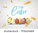 happy easter eggs isolated on... | Shutterstock .eps vector #793624684