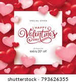 valentines day sale poster with ... | Shutterstock .eps vector #793626355