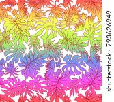 tropical plants pattern  i... | Shutterstock .eps vector #793626949