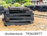 photo of wooden sleeper  pile... | Shutterstock . vector #793628977