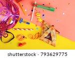top view of purim background... | Shutterstock . vector #793629775
