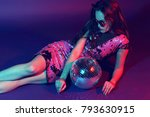 sexy disco party woman.... | Shutterstock . vector #793630915