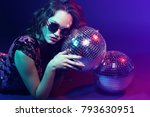 sexy disco party woman.... | Shutterstock . vector #793630951