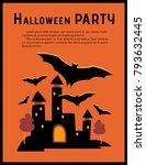 castle and bats  big haunted... | Shutterstock .eps vector #793632445