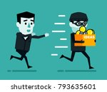 businessman chases thief who... | Shutterstock .eps vector #793635601