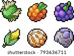 set of food icons in pixel style | Shutterstock .eps vector #793636711