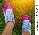 sport running shoes with grass... | Shutterstock . vector #793638121