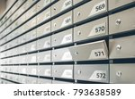 mail boxes filled of leaflets... | Shutterstock . vector #793638589