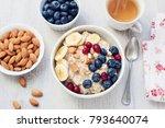 oatmeal porridge with berries ... | Shutterstock . vector #793640074