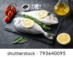 uncooked sea bream fish with... | Shutterstock . vector #793640095