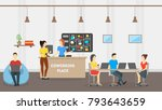 cartoon coworking place card... | Shutterstock .eps vector #793643659