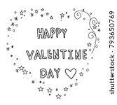 hand drawn of happy valentine... | Shutterstock .eps vector #793650769