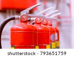 red tank of fire extinguisher... | Shutterstock . vector #793651759