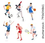 group of sports people. vector... | Shutterstock .eps vector #793654861