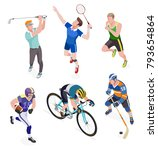 group of sports people. vector... | Shutterstock .eps vector #793654864