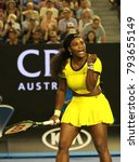 Small photo of MELBOURNE, AUSTRALIA - JANUARY 28, 2016: Twenty one times Grand Slam champion Serena Williams celebrates victory after her semifinal match at Australian Open 2016 in Melbourne Park