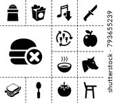 eat icons set of 13 editable