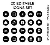 video icons. set of 20 editable ... | Shutterstock .eps vector #793655389