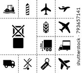 cargo icons. set of 13 editable ... | Shutterstock .eps vector #793657141