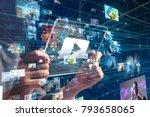 futuristic portable device and... | Shutterstock . vector #793658065