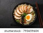ramen noodle soup with chicken  ... | Shutterstock . vector #793659604