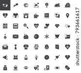 valentines day vector icons set ... | Shutterstock .eps vector #793661617