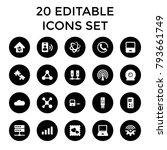 connection icons. set of 20... | Shutterstock .eps vector #793661749