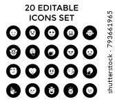 emotion icons. set of 20... | Shutterstock .eps vector #793661965