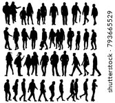 silhouette of walking people... | Shutterstock .eps vector #793665529