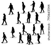isolated silhouette of walking... | Shutterstock .eps vector #793665544