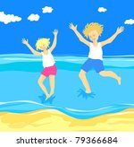 children jumping in the sea ... | Shutterstock . vector #79366684