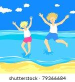 children jumping in the sea ... | Shutterstock . vector #79366684