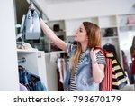 young female shopper with... | Shutterstock . vector #793670179