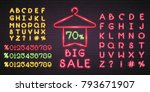 big sale neon light glowing... | Shutterstock .eps vector #793671907
