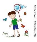 little boy chasing butterflies... | Shutterstock .eps vector #79367305