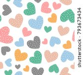 romantic seamless pattern with... | Shutterstock .eps vector #793673434