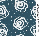 rose flowers drawn by hand and... | Shutterstock .eps vector #793673455