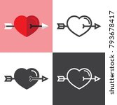 heart with crossed arrow icons | Shutterstock .eps vector #793678417
