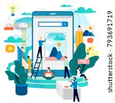 Mobile application development process flat vector illustration. Software API prototyping and testing background. Smartphone interface building process, mobile app building concept. Design studio | Shutterstock vector #793691719