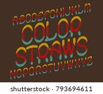 color straws typeface. colorful ... | Shutterstock .eps vector #793694611