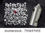 hand written graffiti font... | Shutterstock .eps vector #793697455