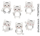 vector set of cute cats on... | Shutterstock .eps vector #793699561